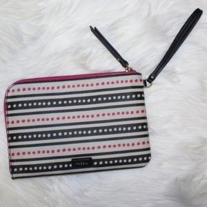 NWT Fossil Striped Pink Dots Eliza Large Wristlet